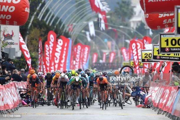 Sprint / Arrival / Mark Cavendish of United Kingdom and Team Deceuninck - Quick-Step Turquoise Leader Jersey Celebration, Jasper Philipsen of Belgium...