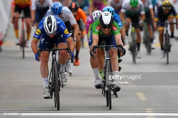 Sprint / Arrival / Mark Cavendish of United Kingdom and Team Deceuninck - Quick-Step & Jasper Philipsen of Belgium and Team Alpecin-Fenix Green...