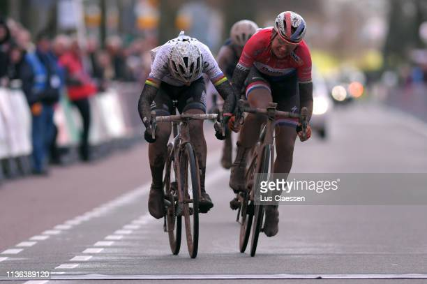 Sprint / Arrival / Marta Bastianelli of Italy and Team Virtu Cycling European Champion Jersey / Chantal Blaak of The Netherlands and Boels Dolmans...