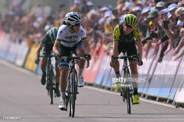 Sprint / Arrival / Marta Bastianelli of Italy and Team Virtu Cycling European Champion Jersey / Annemiek Van Vleuten of The Netherlands and Team...