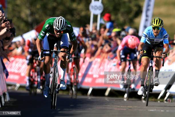 Sprint / Arrival / Mathieu van der Poel of The Netherlands and Corendon - Circus Cycling Team Green Leader Jersey / Celebration / Matteo Trentin of...