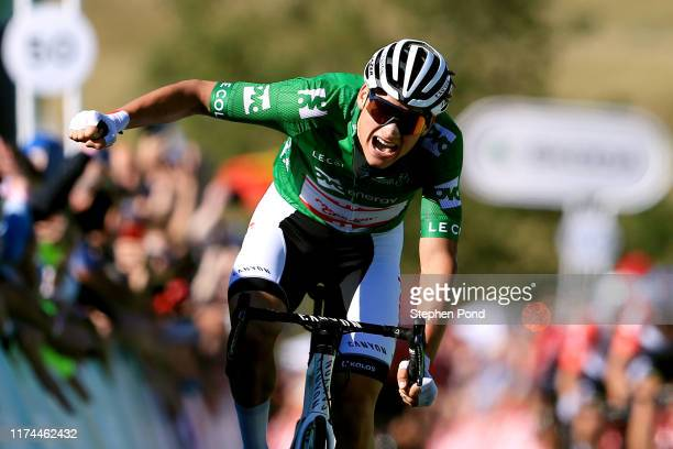 Sprint / Arrival / Mathieu van der Poel of The Netherlands and Corendon - Circus Cycling Team Green Leader Jersey / Celebration / during the 16th...