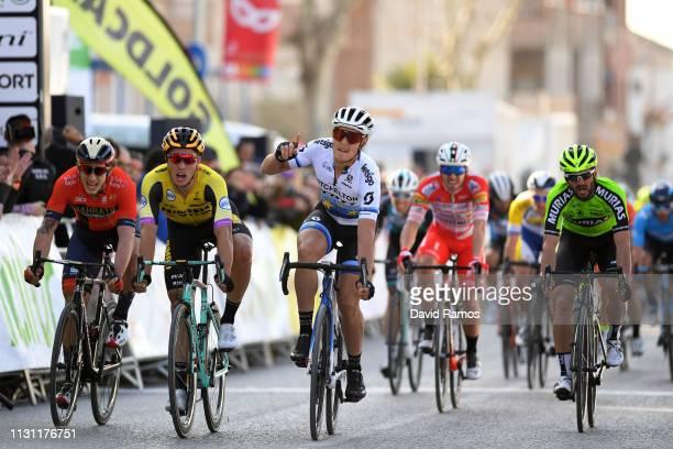 Sprint / Arrival / Matteo Trentin of Italy and Team Mitchelton Scott /Celebration / Danny Van Poppel of Netherlands and Team Jumbo Visma / Ivan...
