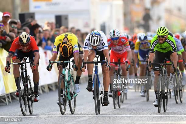 Sprint / Arrival / Matteo Trentin of Italy and Team Mitchelton Scott / Danny Van Poppel of Netherlands and Team Jumbo Visma / Ivan Garcia Cortina of...