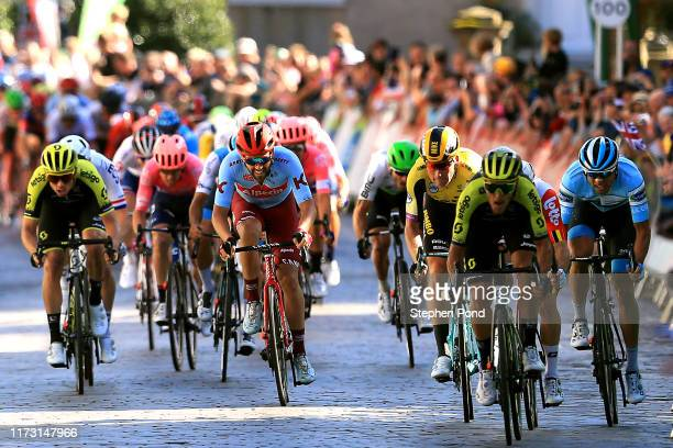 Sprint / Arrival / Matteo Trentin of Italy and Team Mitchelton-SCOTT / Jasper De Buyst of Belgium and Team Lotto Soudal / Mike Teunissen of The...