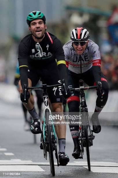 Sprint / Arrival / Maximilian Schachmann of Germany and Team Bora - Hansgrohe Yellow Leader Jersey / Tadej Pogacar of Slovenia and UAE Team Emirates...