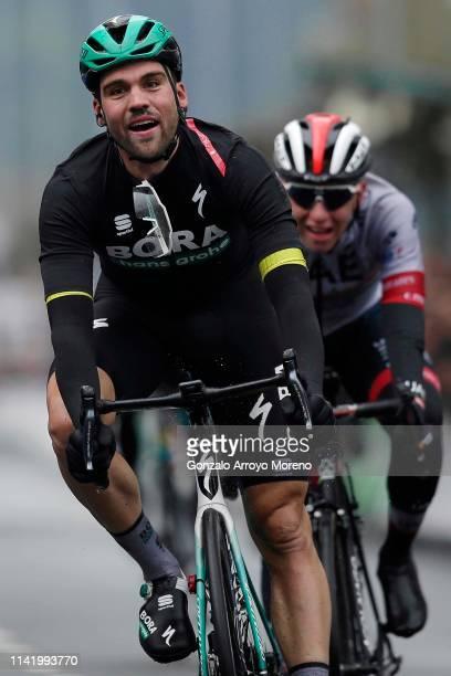 Sprint / Arrival / Maximilian Schachmann of Germany and Team Bora - Hansgrohe Yellow Leader Jersey / Celebration / Tadej Pogacar of Slovenia and UAE...