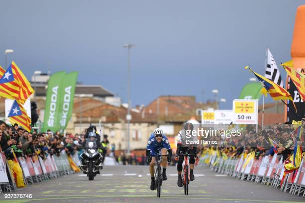Sprint / Arrival / Maximilian Schachmann of Germany and Team Quick-Step Floors / Diego Rubio of Spain and Team Burgos BH / Public / Fans / during the...