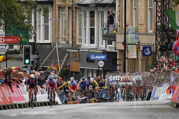 Sprint / Arrival / Megan Jastrab of The United States / Julie De Wilde of Belgium / Lieke Nooijen of The Netherlands / Aigul Gareeva of Russia /...