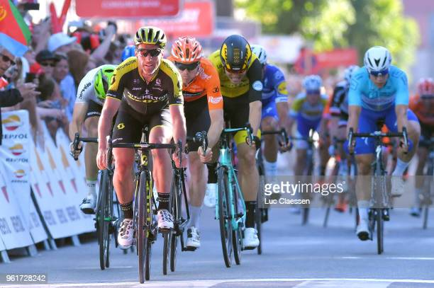 Sprint / Arrival / Michael Albasini of Switzerland and Team MitcheltonScott / Celebration / Pim Ligthart of The Netherlands and Team...