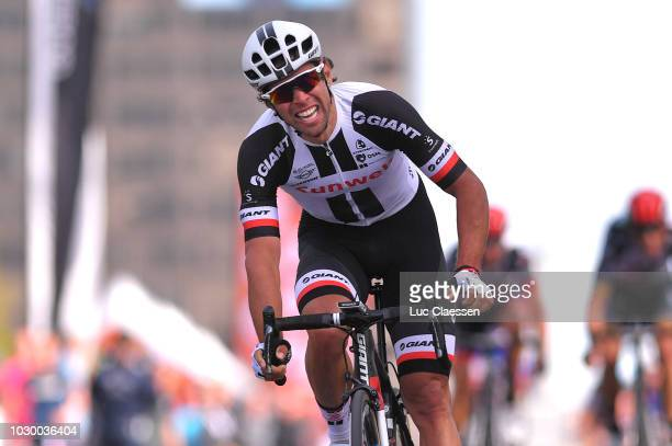Sprint / Arrival / Michael Matthews of Australia and Team Sunweb / Celebration / Greg Van Avermaet of Belgium and BMC Racing Team /during the 9th...