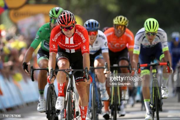 Sprint / Arrival / Michael Matthews of Australia and Team Sunweb / Peter Sagan of Slovakia and Team BoraHansgrohe Green Sprint Jersey / Matteo...