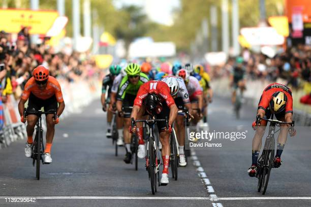 Sprint / Arrival / Michael Matthews of Australia and Team Sunweb / Phil Bauhaus of Germany and Team Bahrain Merida / Daryl Impey of South Africa and...