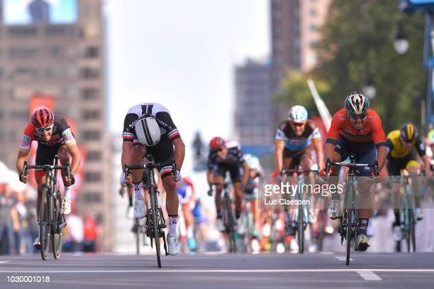 Sprint / Arrival / Michael Matthews of Australia and Team Sunweb / Sonny Colbrelli of Italy and Bahrain Merida Pro Cycling Team / Greg Van Avermaet...