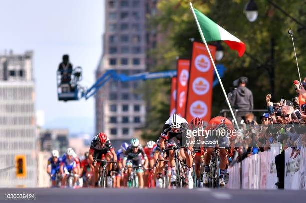 Sprint / Arrival / Michael Matthews of Australia and Team Sunweb / Sonny Colbrelli of Italy and Bahrain Merida Pro Cycling Team / Greg Van Avermaet...