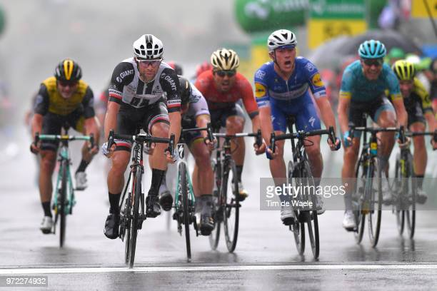 Sprint / Arrival / Michael Matthews of Australia and Team Sunweb / Yves Lampaert of Belgium and Team Quick-Step Floors / Peter Sagan of Slovakia and...