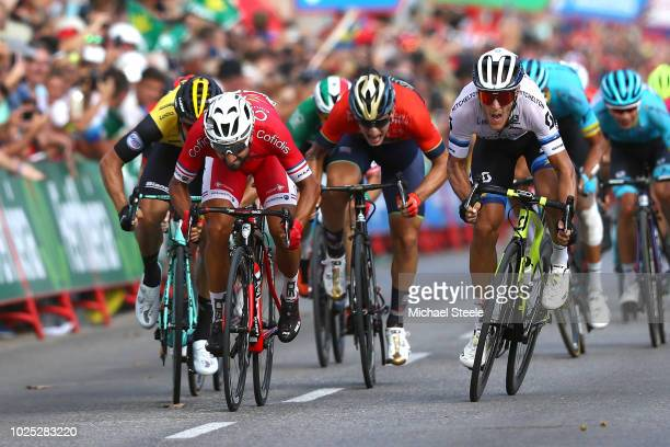 Sprint / Arrival / Nacer Bouhanni of France and Team Cofidis / Danny Van Poppel of The Netherlands and Team LottoNL - Jumbo / Elia Viviani of Italy...