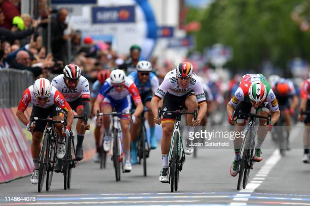 Sprint / Arrival / Pascal Ackermann of Germany and Team Bora Hansgrohe / Elia Viviani of Italy and Team Deceuninck QuickStep / Caleb Ewan of...