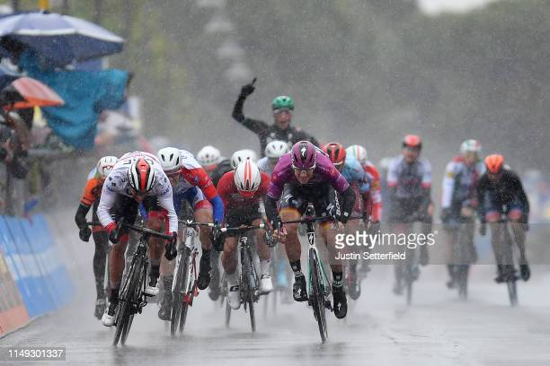 Sprint / Arrival / Pascal Ackermann of Germany and Team Bora - Hansgrohe Purple Points Jersey / Celebration / Fernando Gaviria Rendon of Colombia and...