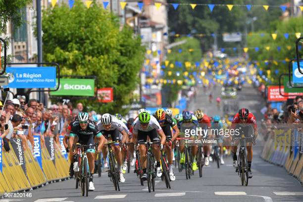 Sprint / Arrival / Pascal Ackermann of Germany and Team Bora Hansgrohe / Edvald Boasson Hagen of Norway and Team Dimension Data / Daryl Impey of...