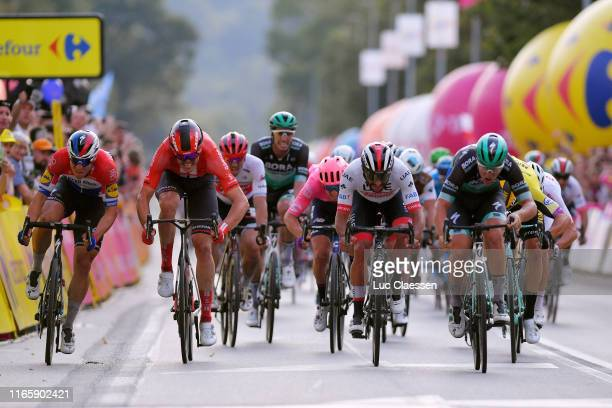 Sprint / Arrival / Pascal Ackermann of Germany and Team BoraHansgrohe / Fernando Gaviria of Colombia and UAE Team Emirates / Fabio Jakobsen of The...