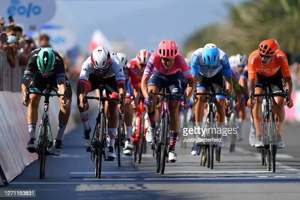 Sprint / Arrival / Pascal Ackermann of Germany and Team Bora-Hansgrohe / Fernando Gaviria Rendon of Colombia and UAE Team Emirates / Magnus Cort of...