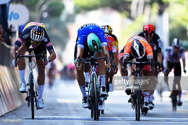 Sprint / Arrival / Pascal Ackermann of Germany and Team Bora-Hansgrohe Blue Leader Jersey / Fernando Gaviria Rendon of Colombia and UAE Team Emirates...