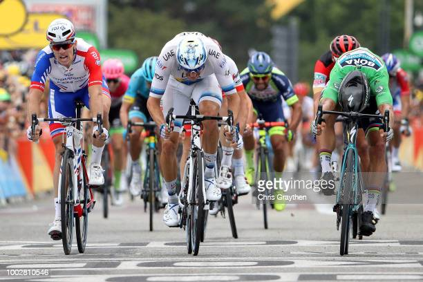 Sprint / Arrival / Peter Sagan of Slovakia and Team Bora Hansgrohe Green Sprint Jersey / Alexander Kristoff of Norway and UAE Team Emirates / Arnaud...