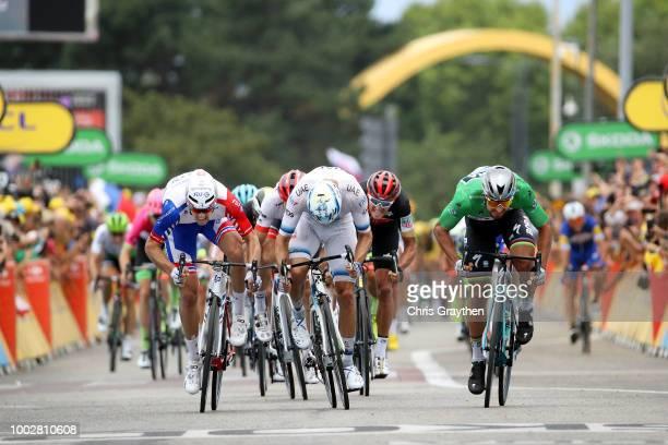 Sprint / Arrival / Peter Sagan of Slovakia and Team Bora Hansgrohe Green Sprint Jersey / Alexander Kristoff of Norway and UAE Team Emirates / Arnaud...