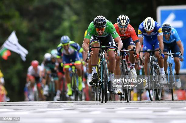 Sprint / Arrival / Peter Sagan of Slovakia and Team Bora Hansgrohe Green Sprint Jersey / Sonny Colbrelli of Italy and Bahrain Merida Pro Team /...