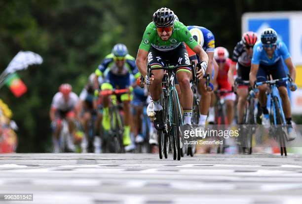 Sprint / Arrival / Peter Sagan of Slovakia and Team Bora Hansgrohe Green Sprint Jersey / Sonny Colbrelli of Italy and Bahrain Merida Pro Team /...