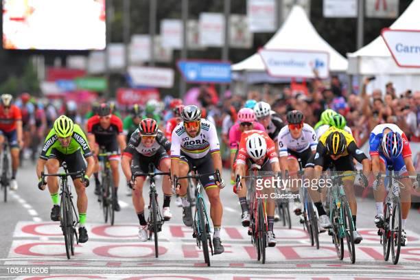 Sprint / Arrival / Peter Sagan of Slovakia and Team Bora - Hansgrohe / Giacomo Nizzolo of Italy and Team Trek Segafredo / Danny Van Poppel of The...