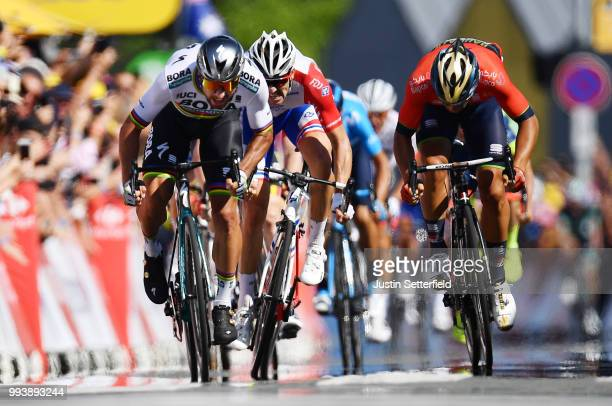 Sprint / Arrival / Peter Sagan of Slovakia and Team Bora Hansgrohe / Sonny Colbrelli of Italy and Bahrain Merida Pro Team / Arnaud Demare of France...
