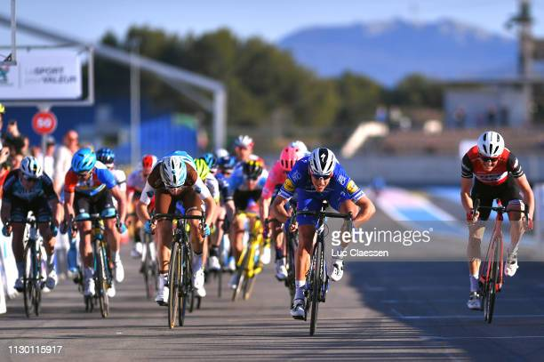 Sprint / Arrival / Philippe Gilbert of Belgium and Team Deceuninck - Quick-Step / Toms Skujins of Latvia and Team Trek-Segafredo / Tony Gallopin of...