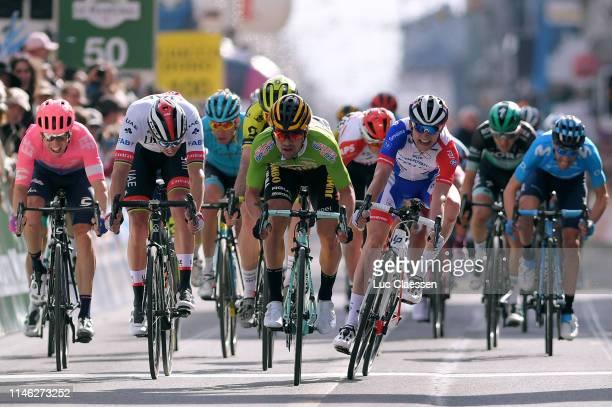 Sprint / Arrival / Primoz Roglic of Slovenia and Team Jumbo-Visma Green Sprint Jersey / Celebration / David Gaudu of France and Team Groupama-FDJ /...