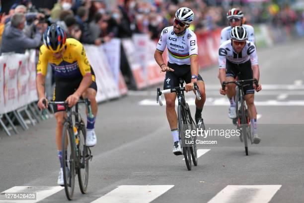 Sprint / Arrival / Primoz Roglic of Slovenia and Team Jumbo-Visma / Julian Alaphilippe of France and Team Deceuninck - Quick-Step World Champion...