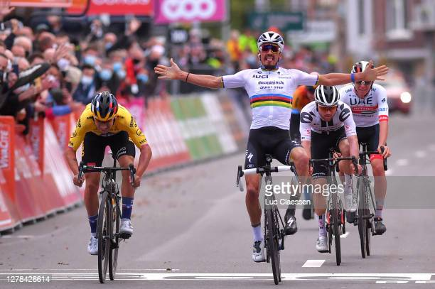 Sprint / Arrival / Primoz Roglic of Slovenia and Team Jumbo-Visma / Julian Alaphilippe of France and Team Deceuninck - Quick-Step World Champion...