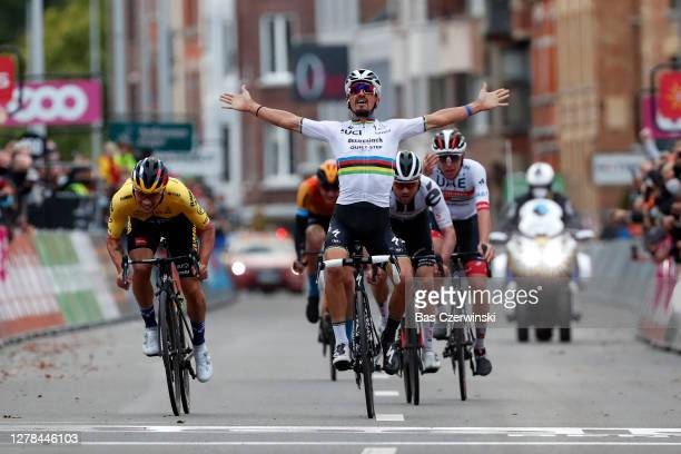 Sprint / Arrival / Primoz Roglic of Slovenia and Team JumboVisma / Julian Alaphilippe of France and Team Deceuninck QuickStep World Champion Jersey /...