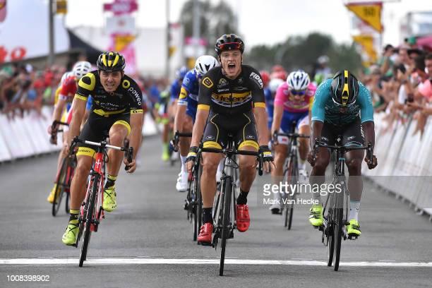 Sprint / Arrival / Quinten Hermans of Belgium and Team Telenet Fidea Lions / Celebration / Lorrenzo Manzin of France and Team Vital Concept Cycling...