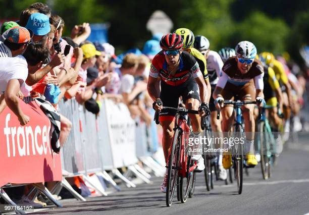 Sprint / Arrival / Richie Porte of Australia and BMC Racing Team / Adam Yates of Great Britain and Team Mitchelton-Scott / Pierre Latour of France...