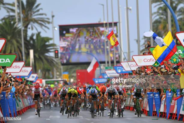 Sprint / Arrival / Sam Bennett of Ireland and Team BoraHansgrohe / Edward Theuns of Belgium and Team TrekSegafredo / Luka Mezgec of Slovenia and Team...