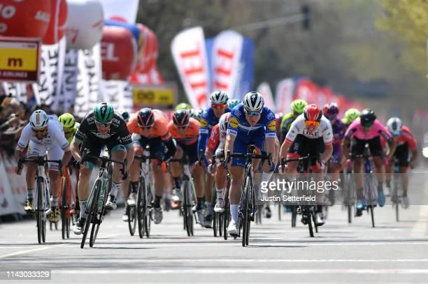 Sprint / Arrival / Sam Bennett of Ireland and Team Bora-Hansgrohe / Fabio Jakobsen of Netherlands and Team Deceuninck - Quick-Step / Caleb Ewan of...