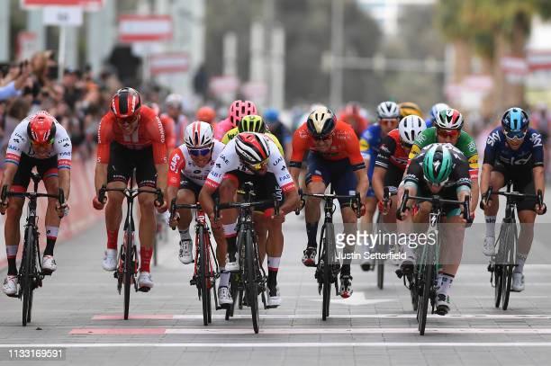 Sprint / Arrival / Sam Bennett of Ireland and Team BoraHansgrohe / Fernando Gaviria of Colombia and UAE Team Emirates / Caleb Ewan of Australia and...
