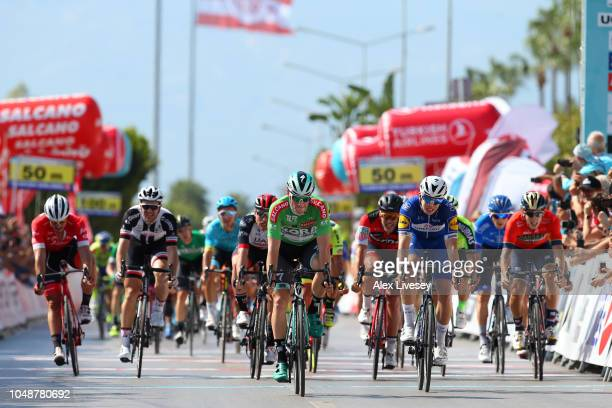 Sprint / Arrival / Sam Bennett of Ireland and Team Bora-Hansgrohe Green Sprint Jersey / Celebration / Alvaro Jose Hodeg Chagui of Colombia and Team...