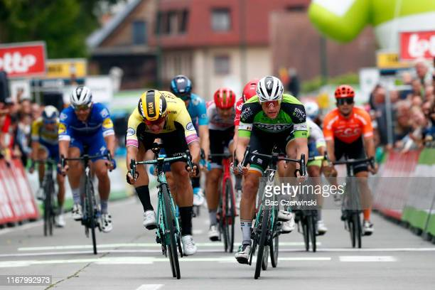 Sprint / Arrival / Sam Bennett of Ireland and Team Bora-Hansgrohe Green Leader Jersey / Dylan Groenewegen of The Netherlands and Team Jumbo-Visma /...