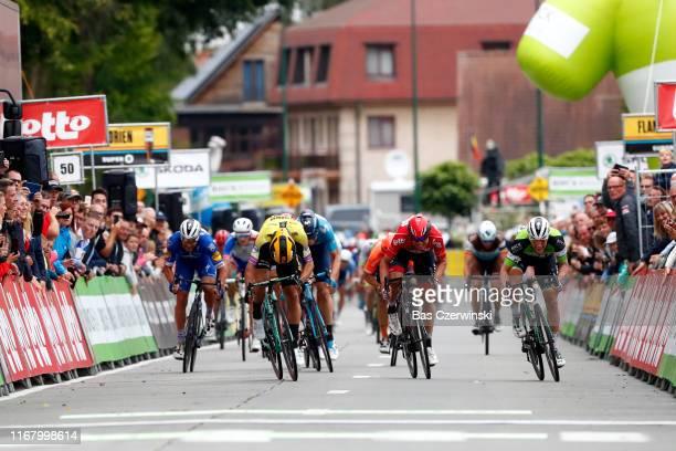 Sprint / Arrival / Sam Bennett of Ireland and Team Bora-Hansgrohe Green Leader Jersey / Dylan Groenewegen of The Netherlands and Team Jumbo-Visma /...