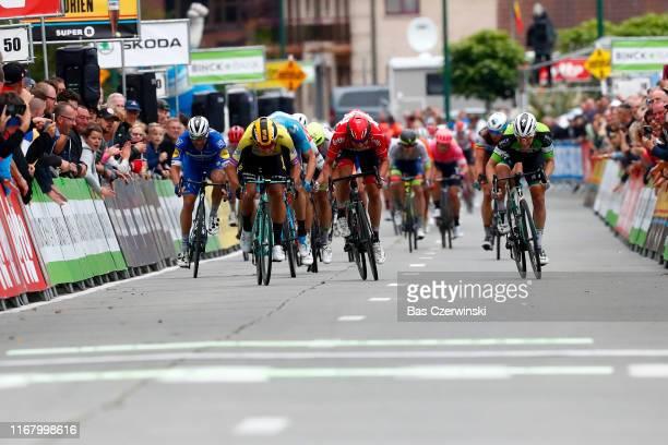 Sprint / Arrival / Sam Bennett of Ireland and Team BoraHansgrohe Green Leader Jersey / Dylan Groenewegen of The Netherlands and Team JumboVisma /...