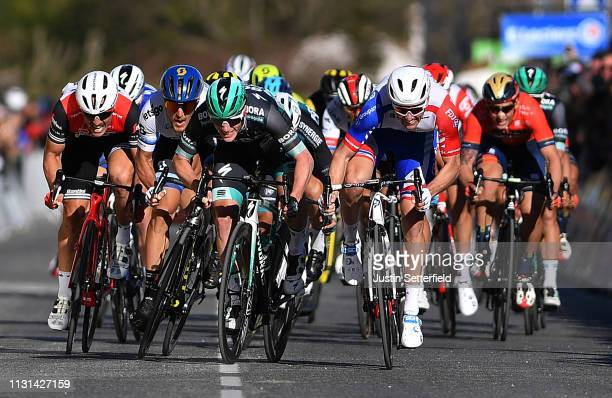 Sprint / Arrival / Sam Bennett of Ireland and Team BoraHansgrohe / Matteo Trentin of Italy and Team Mitchelton Scott / Arnaud Demare of France and...