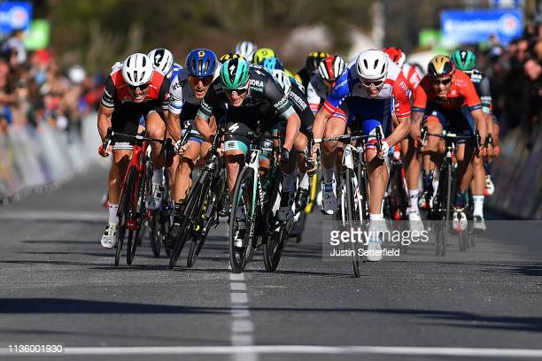 Sprint / Arrival / Sam Bennett of Ireland and Team Bora-Hansgrohe / Matteo Trentin of Italy and Team Mitchelton - Scott / Arnaud Demare of France and...