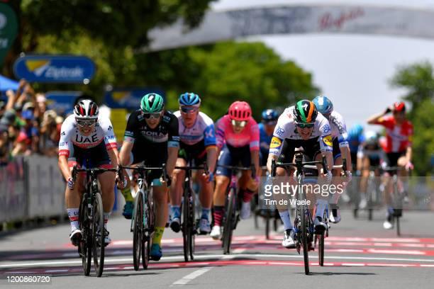 Sprint / Arrival / Sam Bennett of Ireland and Team Deceuninck - Quick-Step / Jasper Philipsen of Belgium and UAE Team Emirates / Eric Baska of...
